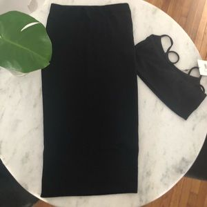 Missguided black midi skirt with crop top 🖤